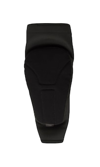 Black elbow pad isolated on white background. extreme sport slip-on protective accessory