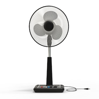 Black electric fan. three-dimensional model on a white surface. fan with control buttons on the stand. a simple device for air ventilation