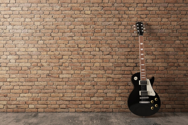 Black electric guitar in interior with orange brick wall and concrete floor
