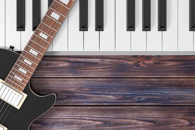 木製のテーブルの極端なクローズアップにピアノの鍵盤と黒のエレキギター。 3dレンダリング