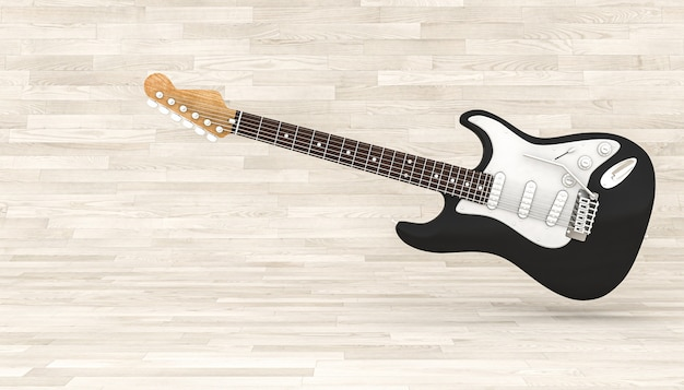 Black electric guitar on a wooden floor