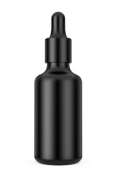 Черная пустая бутылка-капельница для глаз макета на белом фоне. 3d рендеринг