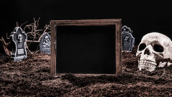 Black empty sign standing on graveyard with skull