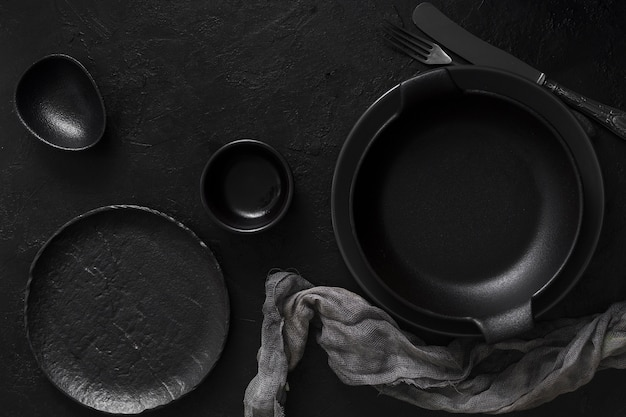 Black empty tableware top view