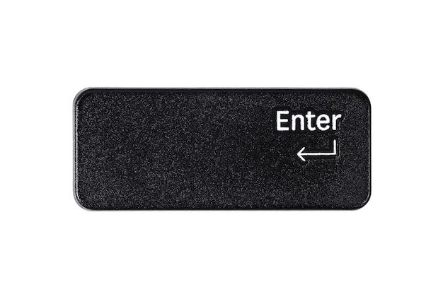 Черная кнопка ввода крупным планом на белом фоне