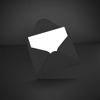어두운 배경에 검은 봉투. 3d 그림