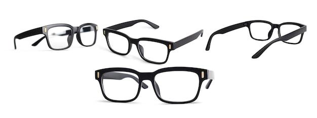 白い背景で隔離の黒い眼鏡。クリッピングパス付き眼鏡のコレクション