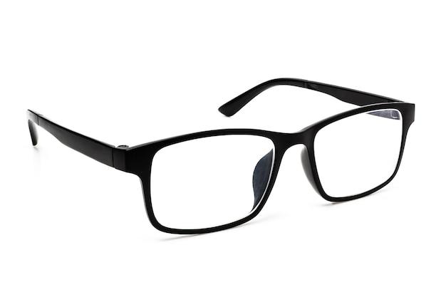 白い背景で隔離の黒い眼鏡