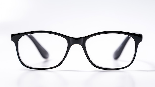 Black eye glasses spectacles with shiny black frame for reading daily life to a person with visual impairment