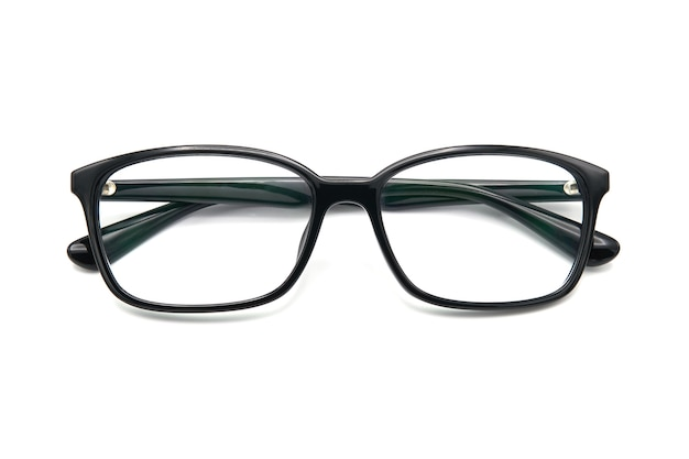 Black eye glasses spectacles with shiny black frame