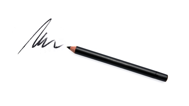 Black eyeliner pencil and stroke isolated on white
