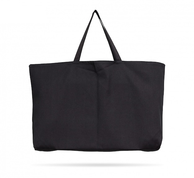 Black fabric bag on isolated background with clipping path.