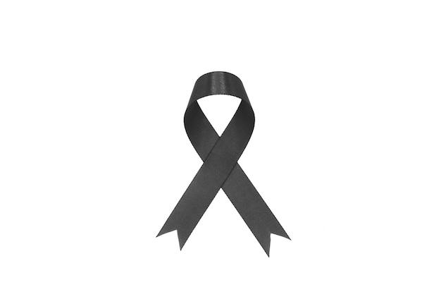 Black fabric ribbon isolated on white
