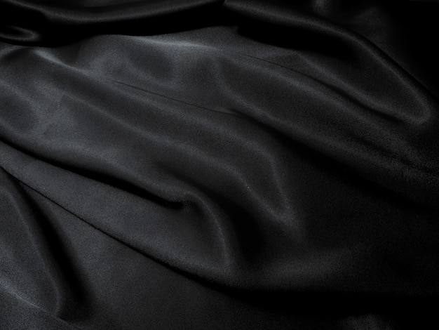 Black fabric texture background, wavy fabric slippery black color, luxury satin cloth text