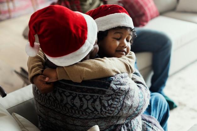 Black family enjoying christmas holdiay