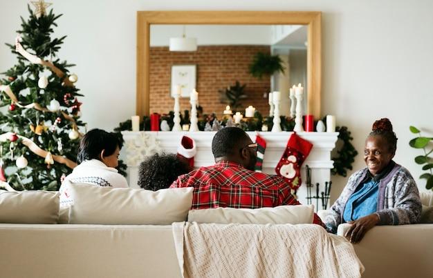 A black family enjoying christmas holiday