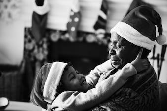 Black family enjoying the Christmas holiday