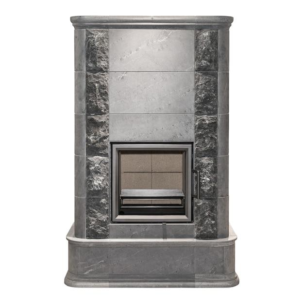 Black fireplace isolated on white