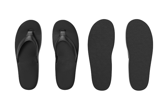 Black flip flops sandals in clay style on a white background. 3d rendering