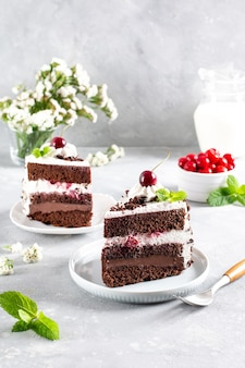 Black forest cake decorated with whipped cream and cherries on a light concrete table, piece of cake. christmas cake