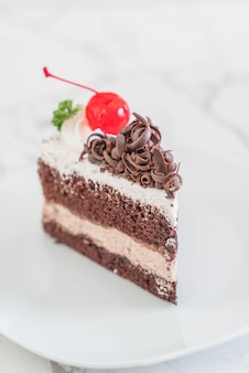 Black forest cake on  plate