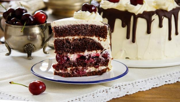 Black forest cake, schwarzwalder kirschtorte, dark chocolate and cherry dessert