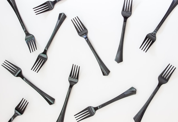 Black forks on white