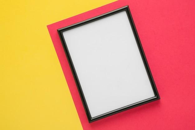 Black frame on bicolor background