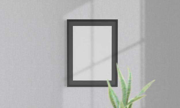 Черная рамка на стене макет 3d рендеринга