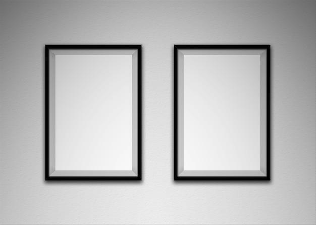 흰 벽에 검은 색 프레임