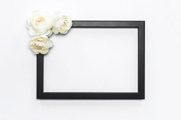 Black frame white flower background modern