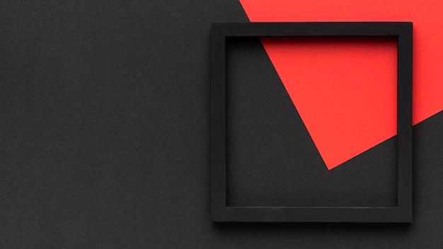 Cornice nera con vista dall'alto dello spazio di copia