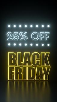 Черная пятница 25 процентов от длинного галстука желтого и черного баннера с неоновыми огнями. шаблон рекламы иллюстрации перевода 3d.