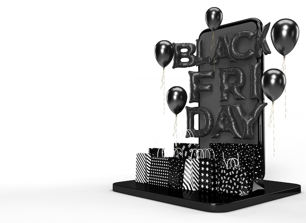 Черная пятница 3d-рендеринга. бизнес-концепция маркетинга и цифровой интернет-маркетинг