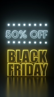 Black friday 50 percent off long tie yellow and black banner with neon lights. 3d rendering illustration advertisement template.