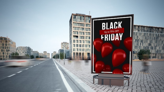 Black friday advertising billboard on the street mockup 3d rendering