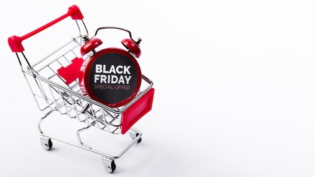 Black friday alarm clock in shopping cart