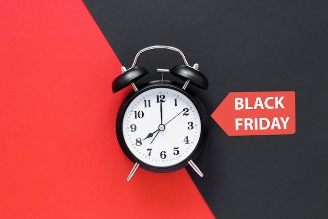 Black friday alarm clock with sticker
