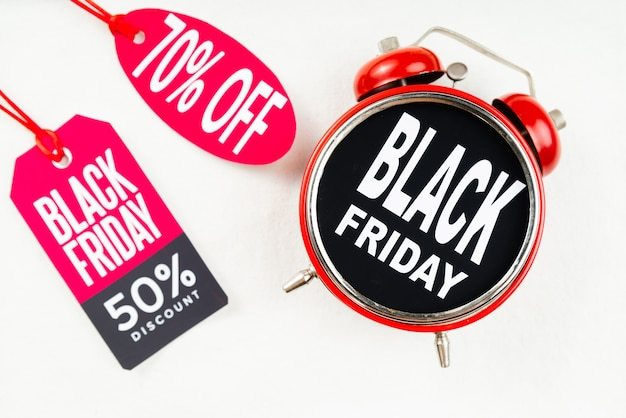 Black friday alarm clock with tags