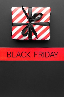Black friday arrangement on black background with copy space