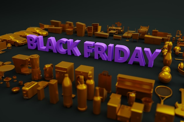 Black friday banner on a dark background. text-black friday, there are a lot of things and products around. 3d banner. isometric image. advertising on a black background. side view.