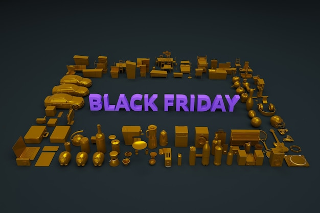 Black friday banner on dark background. text is black friday, there are a lot of things and products around. black friday flyer. advertising banner on a black background. top view