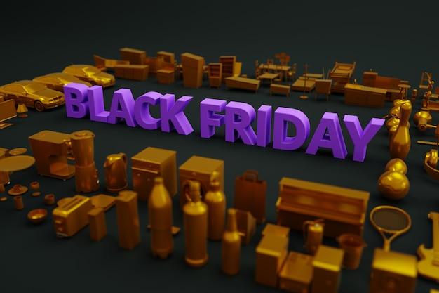 暗い背景にブラックフライデーのバナー。テキスト-ブラックフライデー、周りにはたくさんのものや製品があります。 3dバナー。アイソメ画像。黒の背景に広告。側面図。