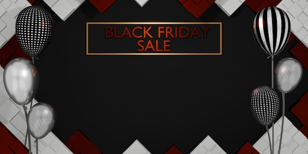 선물과 풍선 3d 일러스트와 함께 검은 금요일 배너 상점 판매