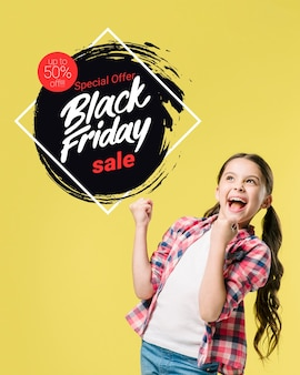 Black friday banner with girl