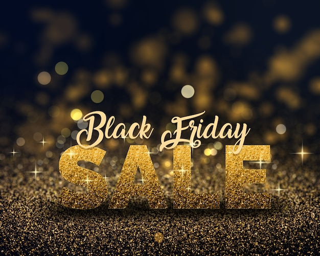 Black friday banner with gold sparkling glitter
