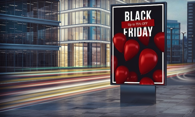 Black friday billboard in city night 3d rendering
