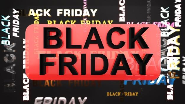 赤と黒の背景に黒の金曜日のキャラクターフェスティバルセールバナークリアランスと割引