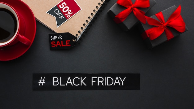 Black friday concept next to coffee