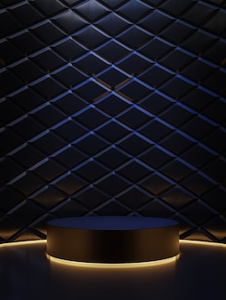 Black friday concept cylinder podium with diamond pattern background 3d render